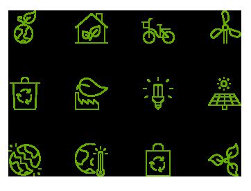 電気自動車、太陽光発電、リサイクルマークなどエコロジーのアイコン