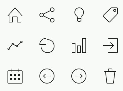 ホームやグラフなどミニマルデザインのアイコン