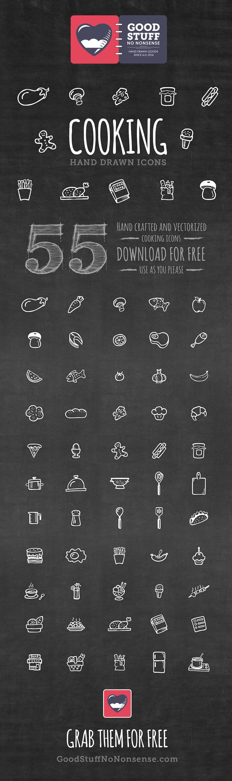 チョークで黒板に描いたような食べもののアイコン
