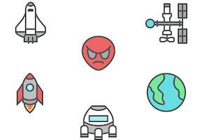 宇宙人やスペースシャトルなど宇宙のアイコンセット