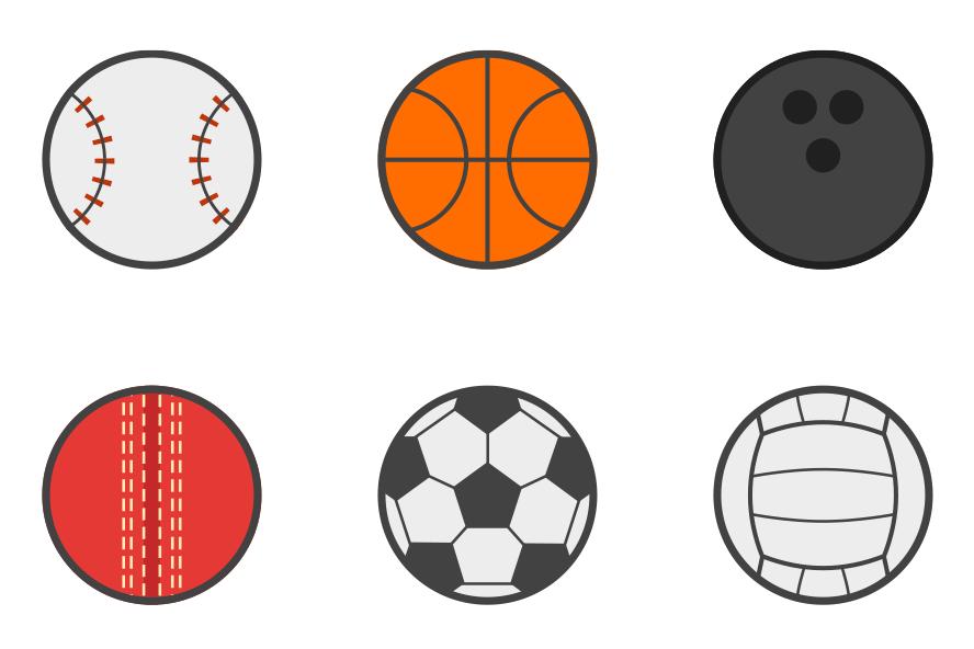 サッカーボールや野球のボールの無料アイコンセット