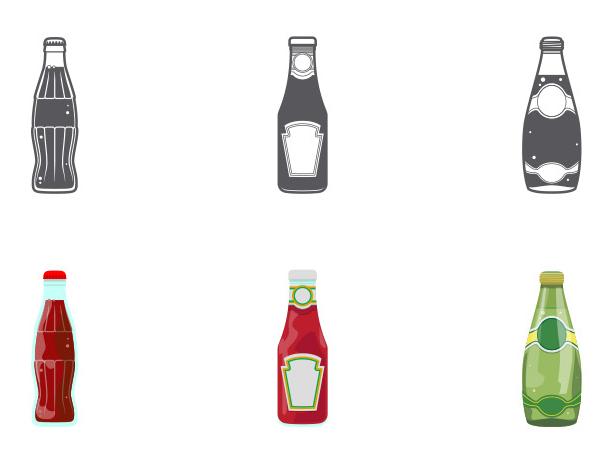 コーラ、ケチャップ、醤油、ペリエのボトルアイコン