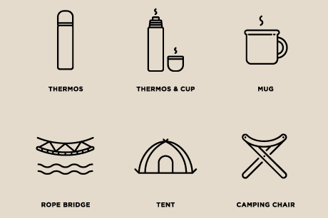 テント、水筒などキャンプのアイコンセット