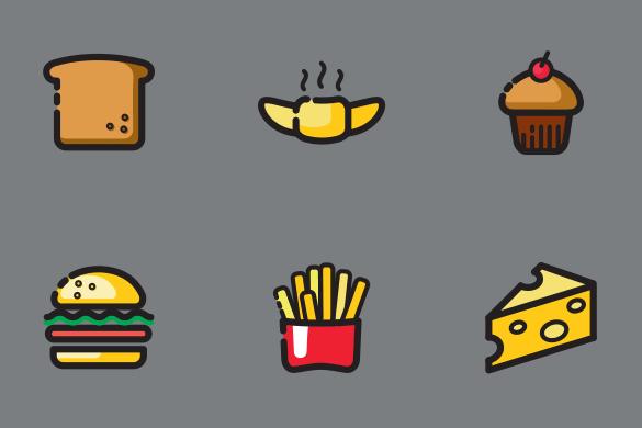 食パン、ハンバーガーなど食べ物のアイコンセット