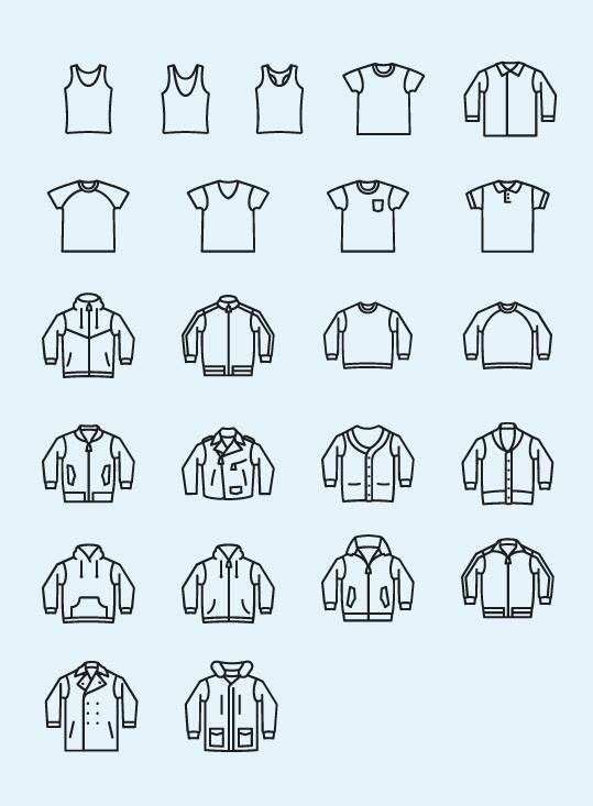 Tシャツ、ポロシャツなどカジュアルウェアのアイコンセット