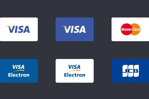 VISA、MastarCard、JCBなどクレジットカードのアイコンセット