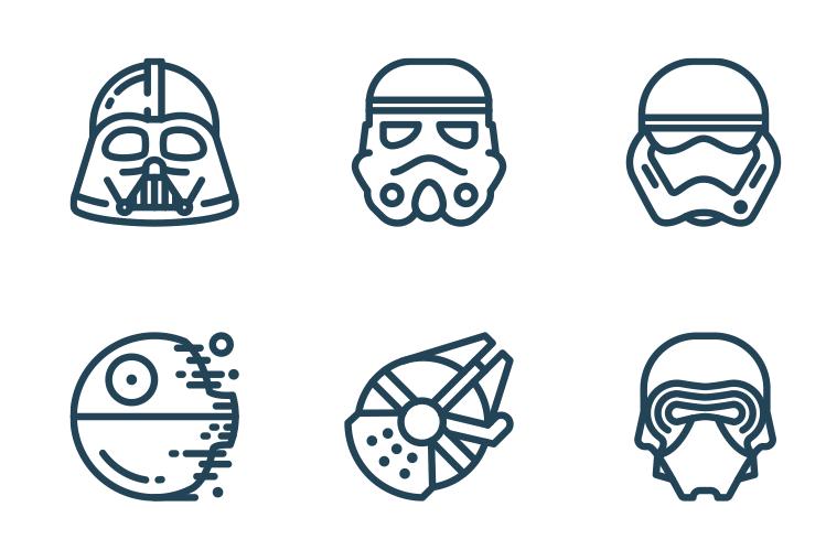 ダースベーダー、C-3PO、R2-D2などスター・ウォーズのアイコンセット