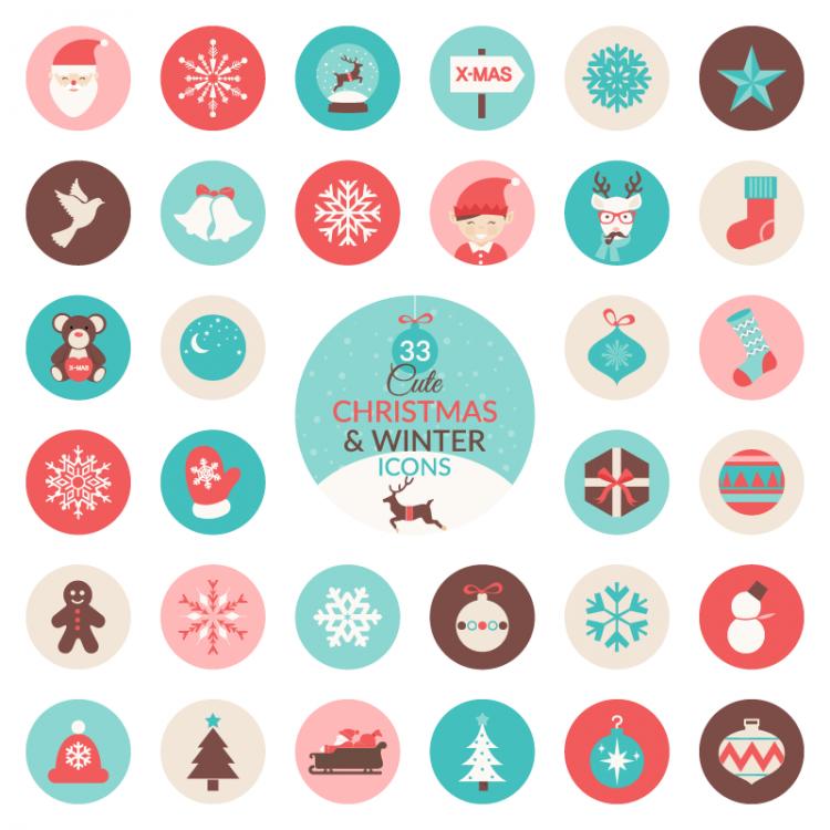 トナカイやサンタクロースなど、かわいらしいクリスマスのアイコン
