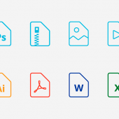 WordやExcel、PowerPoint、PDFなどのアイコン22個セット