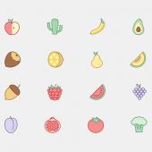 かわいい果物のアイコン16個セット