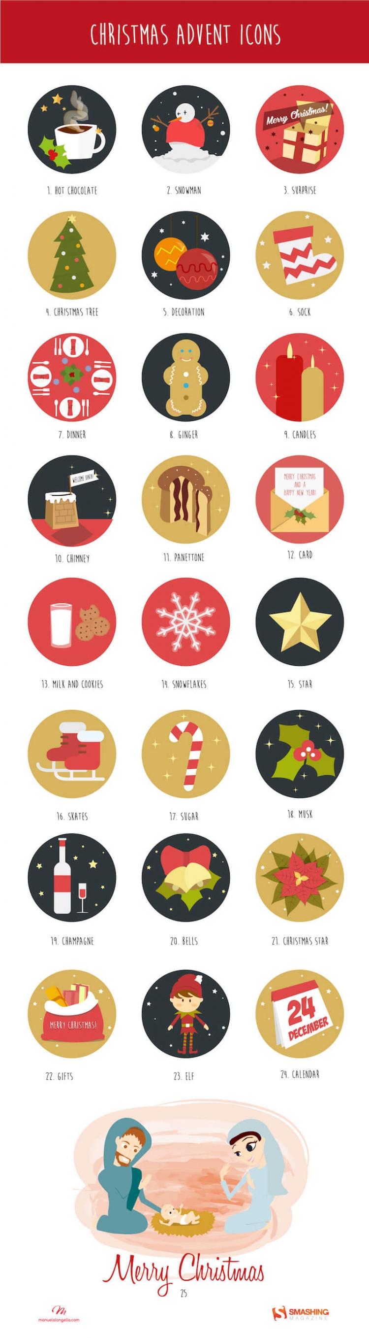 そのまま使えるクリスマスのアイコン25個セット