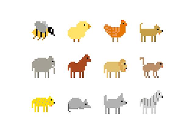 動物のピクセルアイコン12個セット